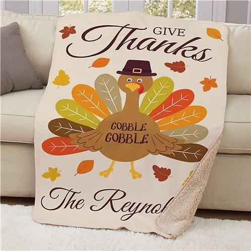 Personalized Give Thanks Turkey With Hat 50x60 Sherpa Blanket