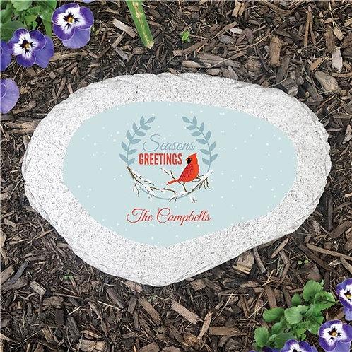 Season's Greeting Cardinal Flat Garden Stone