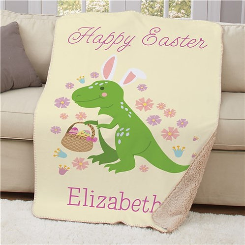 Personalized Floral Happy Easter Dinosaur Sherpa Blanket