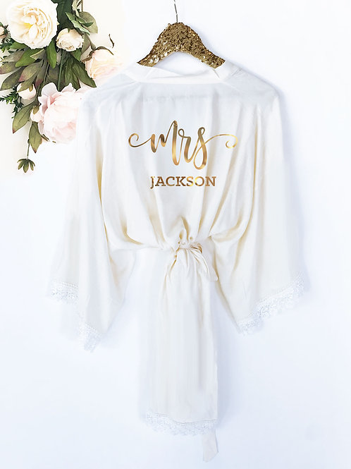 Mrs. Personalized Cotton Lace Robes