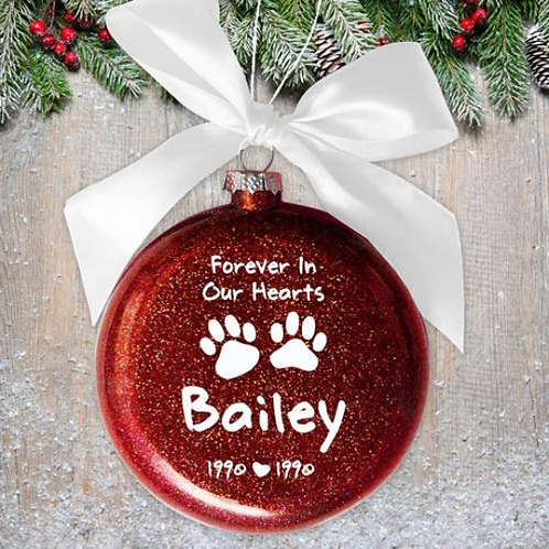 Forever in our Hearts Paw Print Glass Ornament