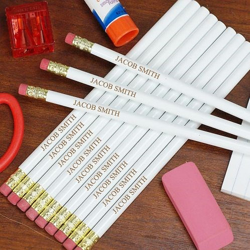 Engraved White School Pencils