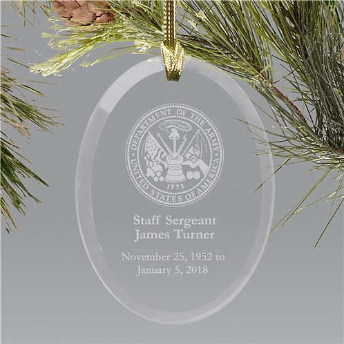 U.S. Army Memorial Personalized Ornament | Oval Glass