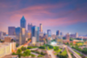 Skyline of Atlanta city at sunset in Geo