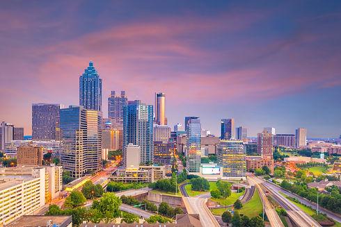 Skyline of Atlanta city at sunset in Geo