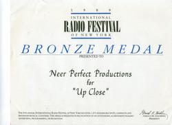 International Radio Festival Bronze Medal for Up Close series