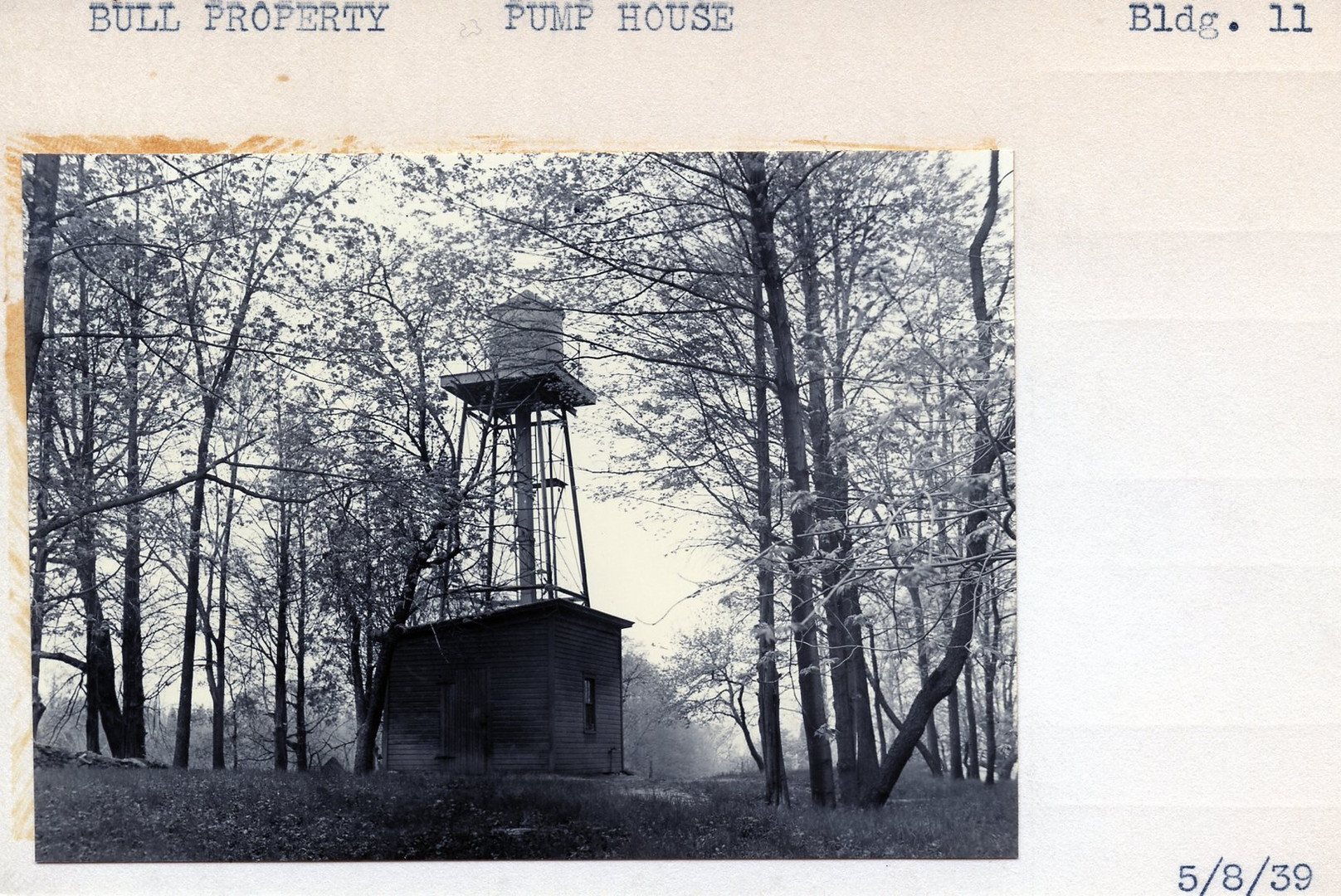 Bull Property, Pump House. Building #11, 5/8/39