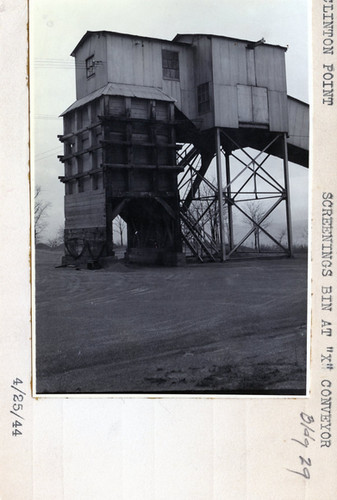 "Screenings Bin at ""X"" Conveyor, Building 29 4/25/44"
