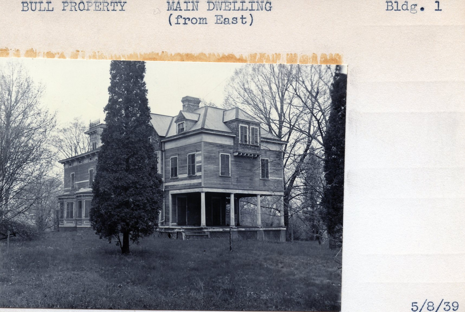 Bull Property, Main Dwelling, Building #1, 5/8/39
