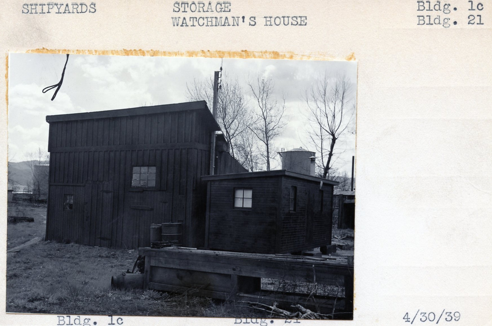 Shipyards, Storage, Building 1c, Watchman's House building 21, 4/30/39