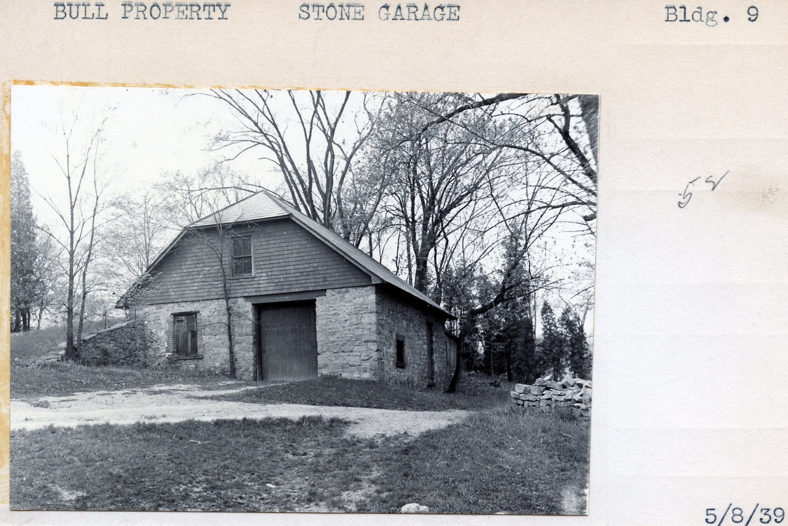 Bull Property, Stone Garage, Building #9, 5/8/39