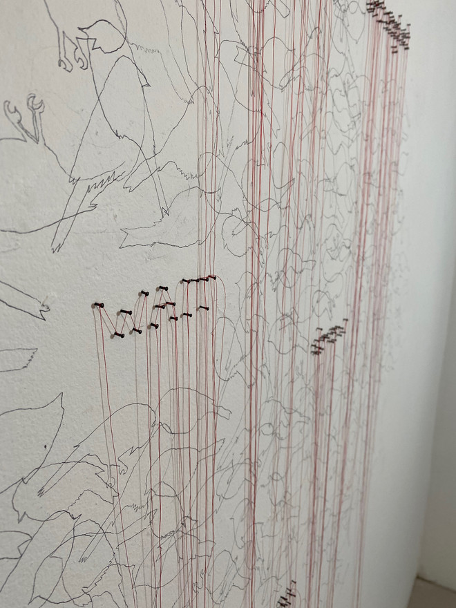I Will Stay, red thread, carbon, nails, 4'x 9' (detail)