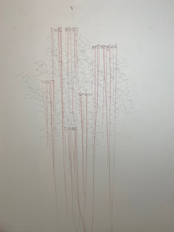 I Will Stay, red thread, carbon, nails, 4'x 9'