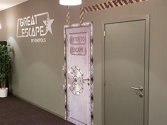 Startdeuren van de gebouwde Escape Room (Great Escape bij Kinepolis Leuven)