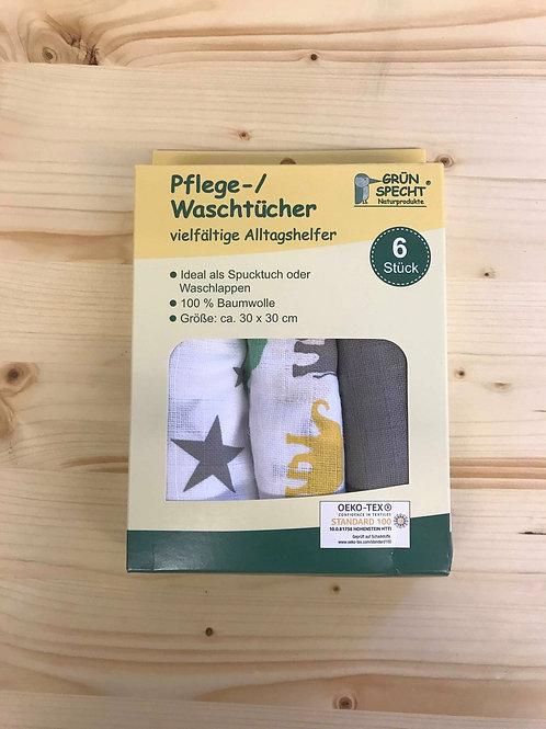 Grünspecht Pflegetücher (30x30) 6er Pack grau