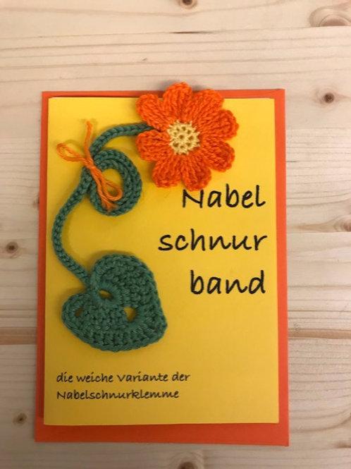 Nabelschnurband Blume Orange mit Karte