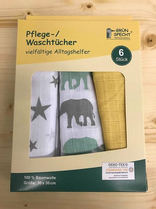 Grünspecht Pflegetücher (30x30) 6er Pack gelb