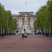 A deserted Mall leading to Buckingham Palace during lockdown