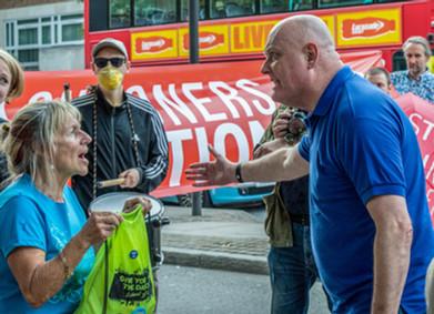 A confrontation at a polution protest