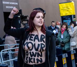 PETA Protester at LondonFashinWeek 2018