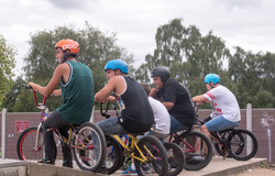 BMX Bikers wait their turn to compet
