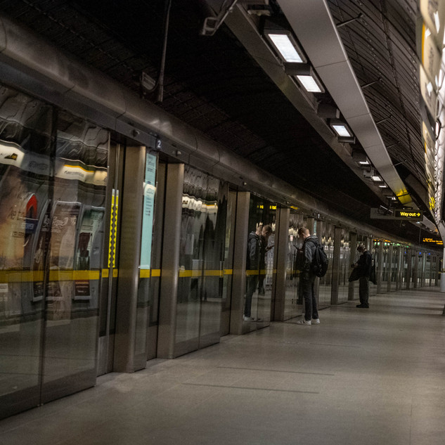 A near deserted Westminster Tube Station during lockdown