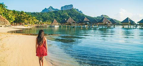 Beach vacation woman walking on Bora Bor