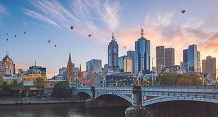 Melbourne city skyline at twilight in Au