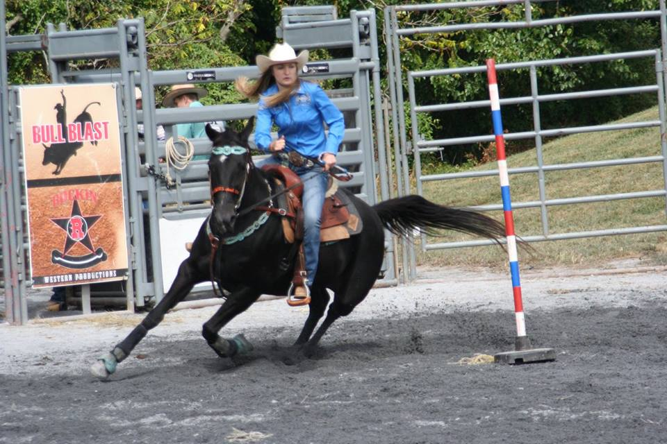 Maddie Smith Pole Bending Competing with High School Rodeo