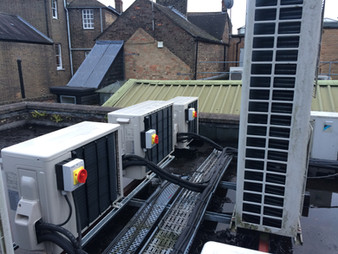 External condensers installed on flat roof