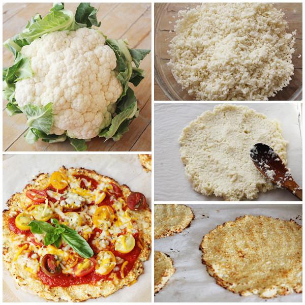 proceso de la pizza de coliflor (imagen)