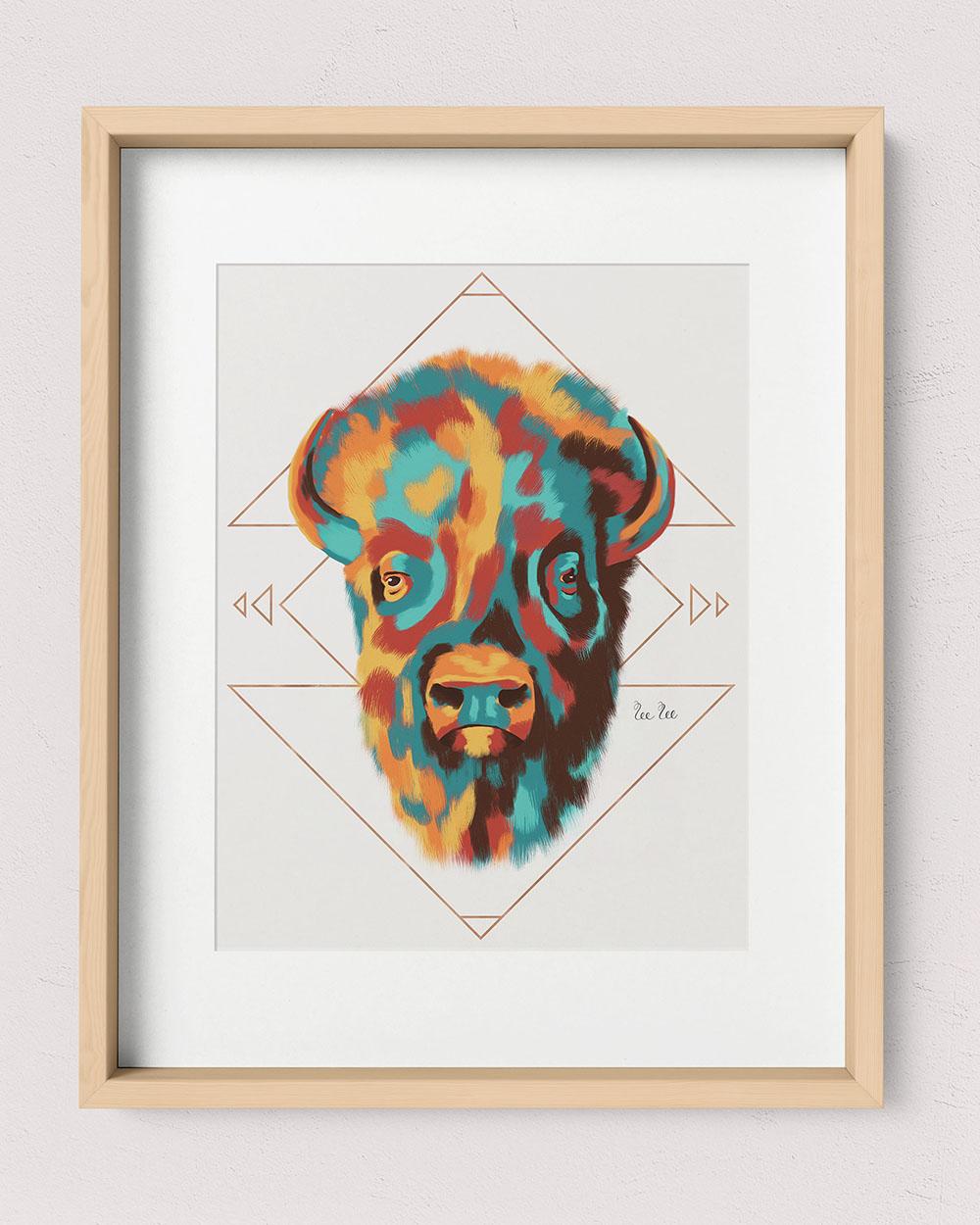 SouthwestBison-8x10Print-18x14Frame-Wood
