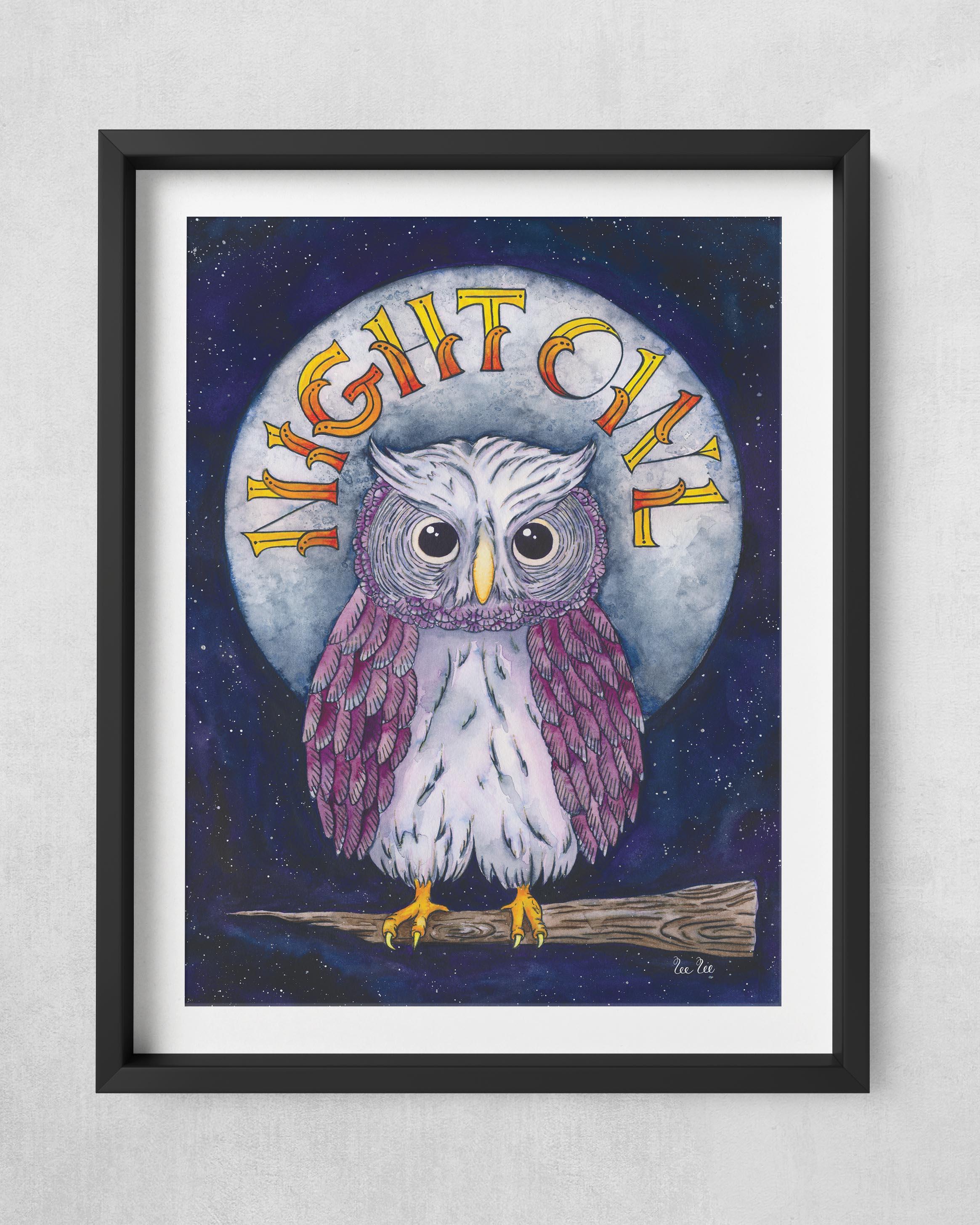 NightOwl-12x16Print-18x14frame-BlackFram