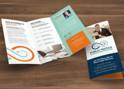 Brochure with business card removed from inside