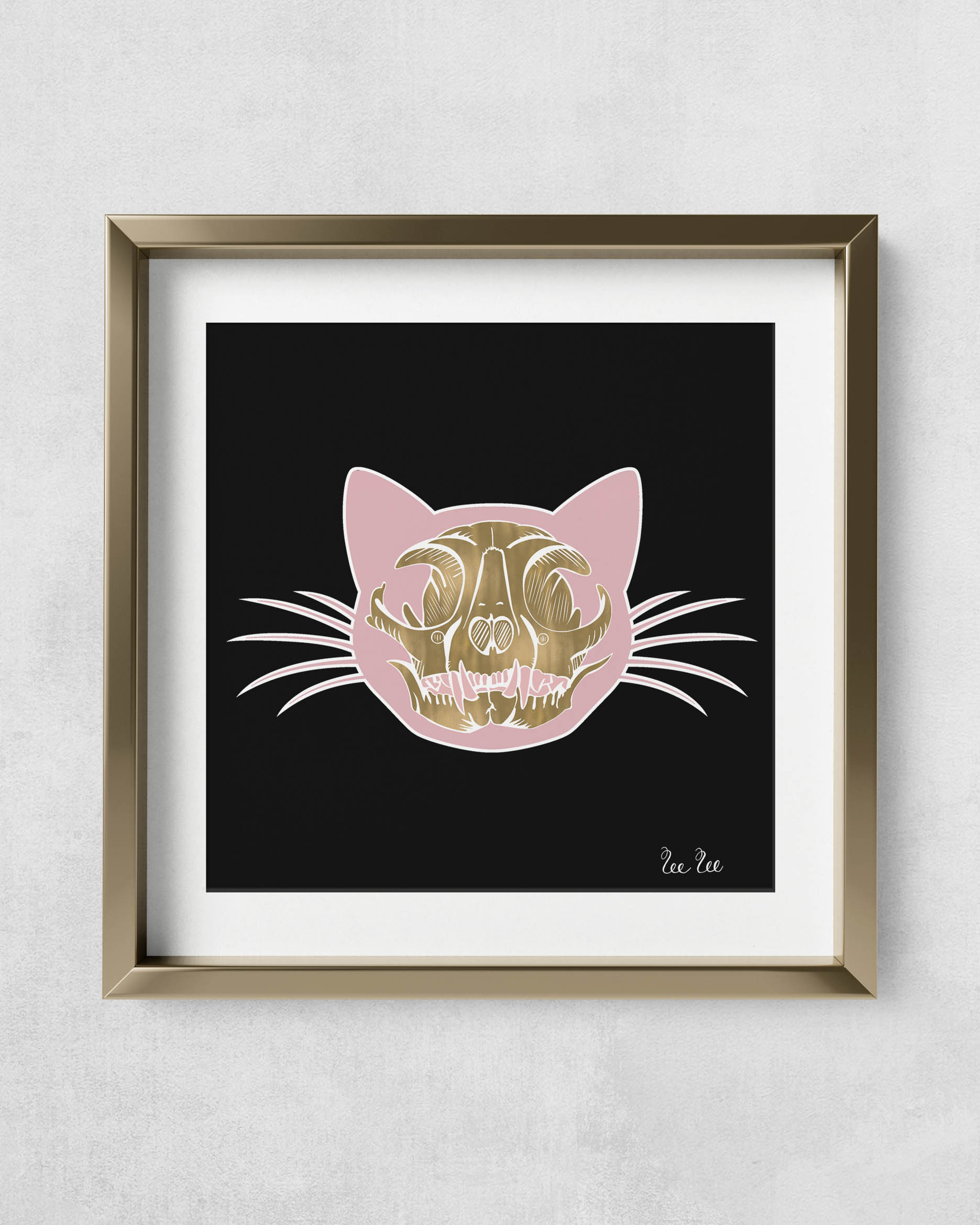 CatSkull-GoldMetalFrame-Square