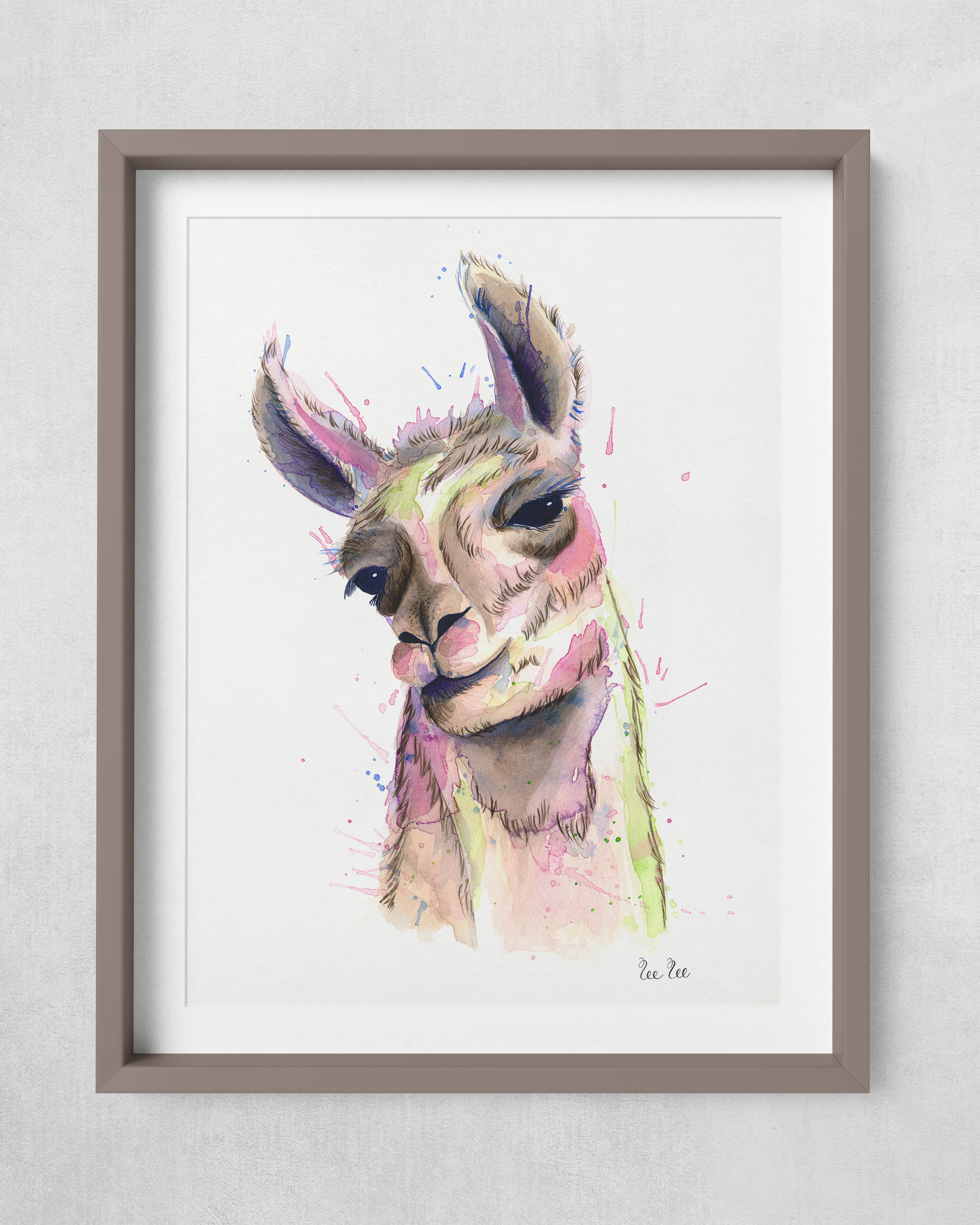 Watercolor Llama painting