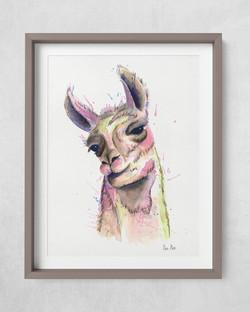Watercolor Llama painting