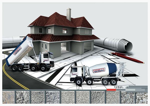 ferretti inerti e calcestruzzi costruzioni assistenza strade inerti aggergati getto cemento calcestruzzo pavimenti industriali esco sostenibile autobetoniere camion movimento terra
