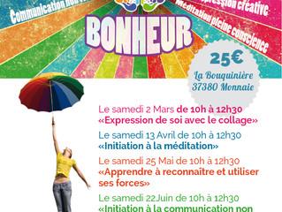 Dates 2019 des Ateliers du Bonheur !!