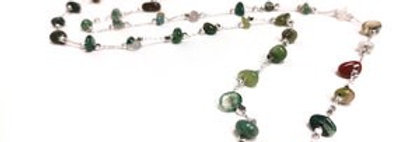 Jacqueline Kent - Dainty Necklace Semi Precious Stones Green and Brown  (499BR)