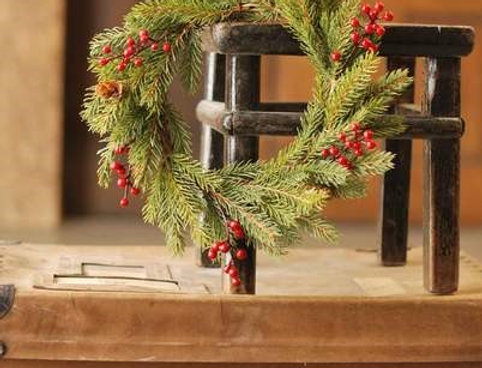 "Wreath - White Spruce with Berries 11"" (76843)"