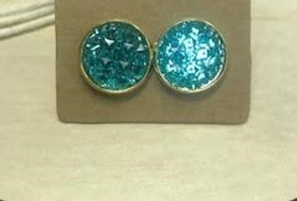 Earrings - Teal Blue with Gold Trim - 1.02 cm Diameter