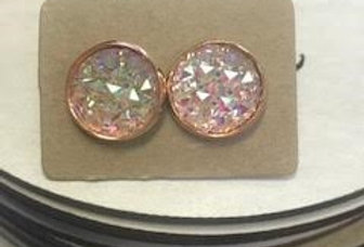 Earrings - Rose Gold Quartz with Gold Trim - 1.02 cm Diameter
