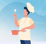 male-chef-with-utensil-wearing-cook-hat-man-uniform-holding-spoon-saucepan-flat-vector-ill