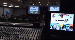 A view from the Energy Auditorium soundbooth.