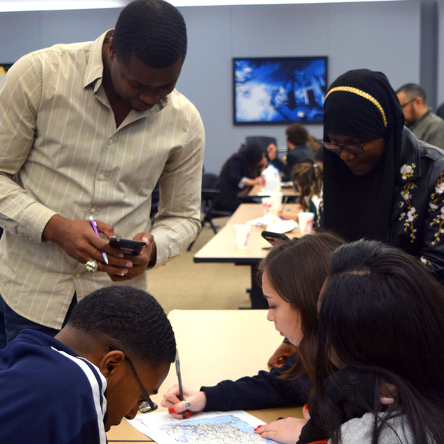 Cedric James provides students with advice.