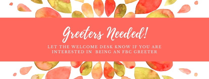 Greeters Needed for announcement loop.pn