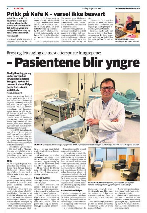 Artikkel i Porsgrunns Dagblad 28.01.2020