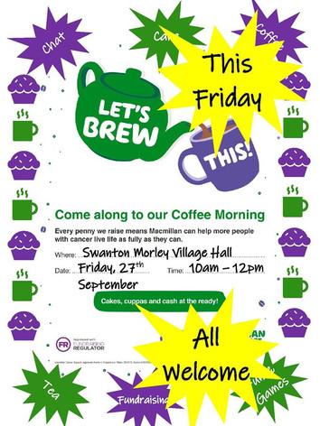 Macmillan Coffee Morning September 2019