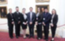 (L – R) Deafhood Team members Miranda Reardon, Nicholas Steer, Olivia Beasley, Disability Discrimination Commissioner Alastair McEwin, Cate Dunn, Te Rata Williams and Sara Weir at Parliament House